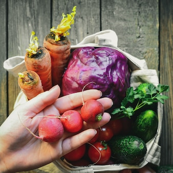 Radijs, tomaten, komkommers, wortelen, rode kool in een zak. bovenaanzicht. handen in het frame. vrouw houdt groenten in haar handen. stoffen tas gemaakt van linnen.