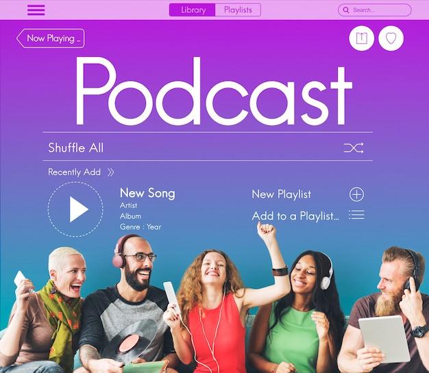 Radio podcast muziek vreugde concept