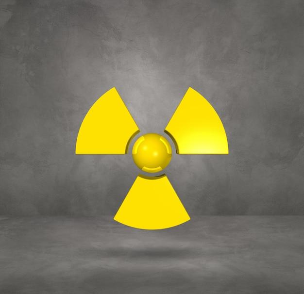 Radioactief symbool dat op een concrete studioachtergrond wordt geïsoleerd