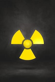 Radioactief symbool geïsoleerd op een zwarte ondergrond. 3d illustratie