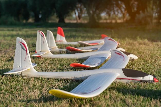 Radiografisch bestuurbare vliegtuigen op een rij op gras