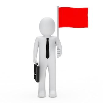 Rag pop met een rode vlag