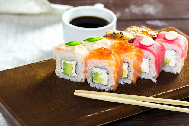 Rainbow maki sushi