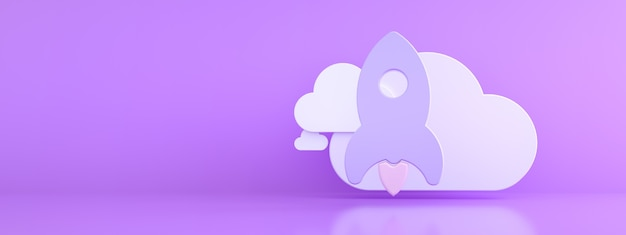 Raket met wolk over paarse achtergrond, opslagconcept, 3d render, panoramisch model mock