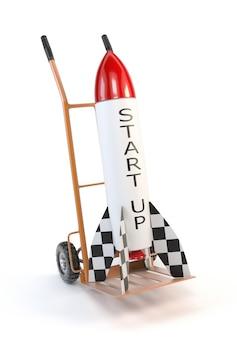Raket op een karretje op witte achtergrond wordt geïsoleerd die.
