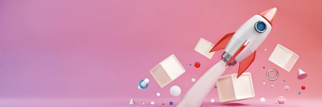 Raket op pastel kleurrijke oppervlakte banner websjabloon