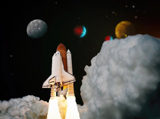 Raketlancering met schip en shuttle. raket begint in het ruimteconcept. ruimteschip stijgt op in de nachtelijke hemel.