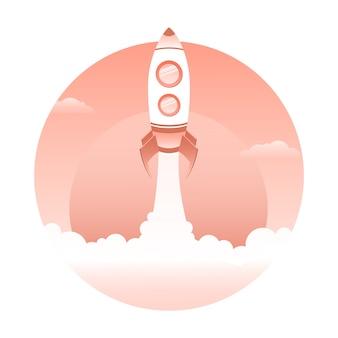 Raketlancering, ruimteschip. opstartconcept. vector illustratie.