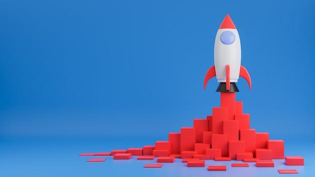 Raketschip vliegt omhoog met financiëngrafiek op blauwe achtergrond. opstarten van bedrijven concept. 3d model en illustratie.