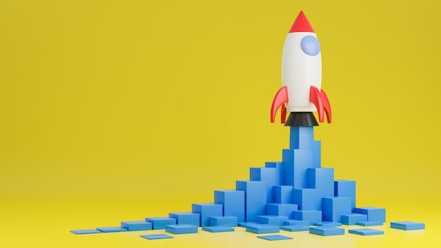 Raketschip vliegt omhoog met financiëngrafiek op gele achtergrond. opstarten bedrijfsconcept. 3d model en illustratie.