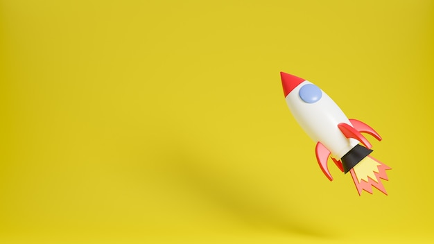 Raketschip vliegt omhoog op gele achtergrond. opstarten van bedrijven concept. 3d model en illustratie.
