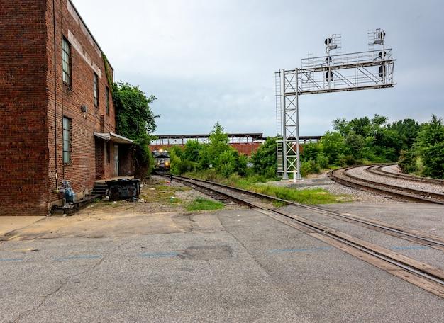 Raleigh north carolina de vs, zuidelijke treinwerf van norfolk