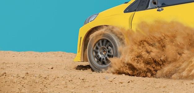 Rally raceauto in onverharde weg.