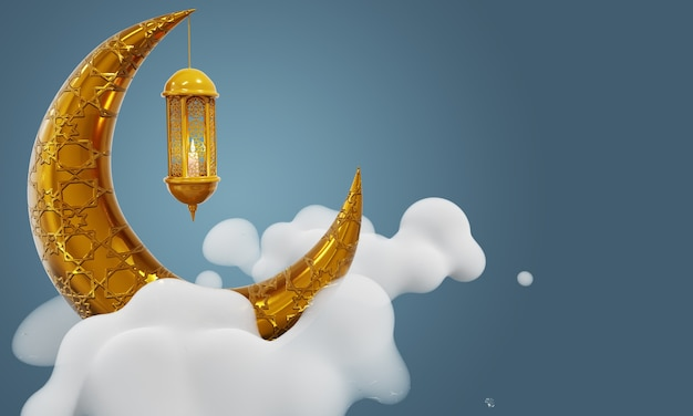 Ramadan kareem achtergrond crescent moon en lantern lightning in cloud sky