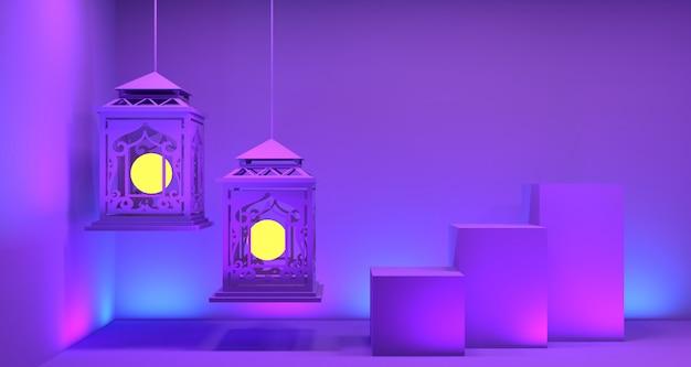 Ramadan lantaarn het 3d teruggeven als achtergrond