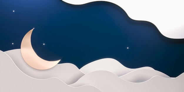 Ramadan mubarak-uitnodiging met papier gesneden wolken, halve maan, sterren