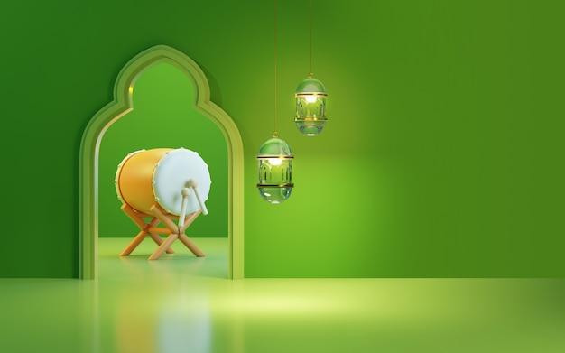 Ramadanachtergrond met bedug-trommel, glaslantaarn, groene achtergrond, tekstgebied van de kopieerruimte, 3d illustratie