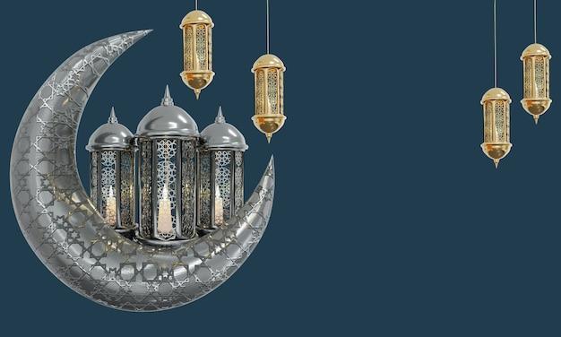 Ramadhan lamp met islamitische rozenkrans kralen op donkere achtergrond