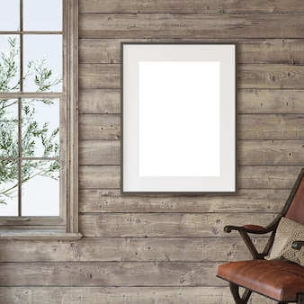 Ranch huis. mockup voor interieur en frame. 3d render.