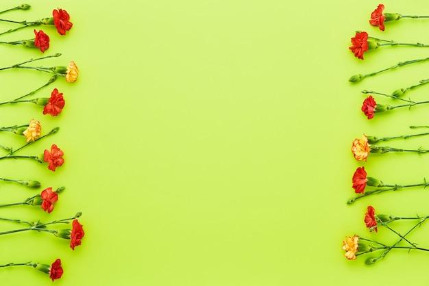 Rand van rode anjer bloemen op groene achtergrond moeders dag valentijnsdag verjaardagsviering