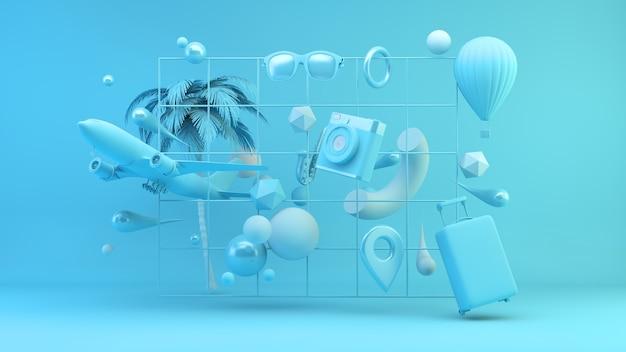 Raster met blauwe reisbenodigdheden 3d-rendering