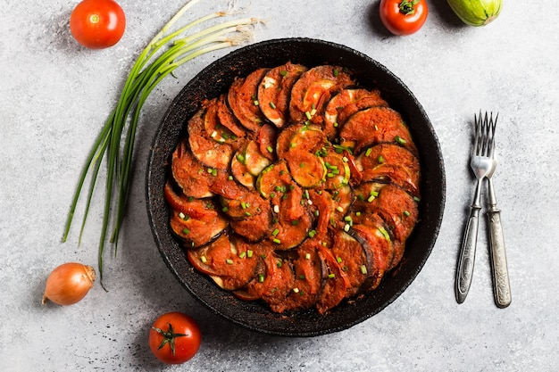 Ratatouille franse provence schotel van groenten courgette aubergine pepers