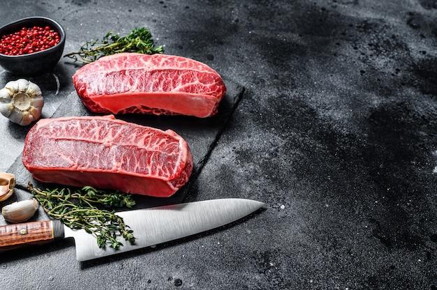 Rauw biologisch vlees twagyu oester topblad steak