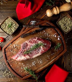 Rauw vlees plak gegarneerd met kruiden en zout