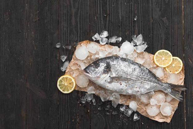 Rauwe dorada-vis of goudbrasem op ijs met schijfjes citroen en rozemarijn op zwarte houten ondergrond, plat gelegd, bovenaanzicht.
