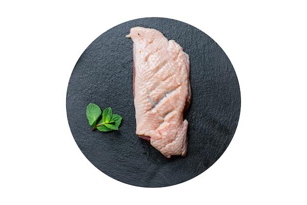 Rauwe eendenborst vlees gevogelte en kruiden barbecue vers gedeelte