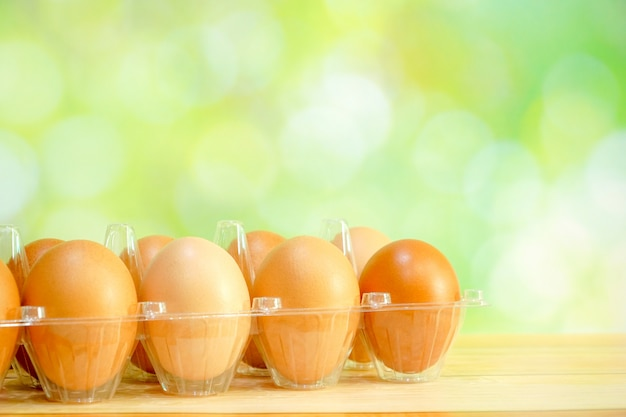 Rauwe kippeneieren in plastic verpakking op groene bokeh. kopieer ruimte voor elk tekstontwerp.