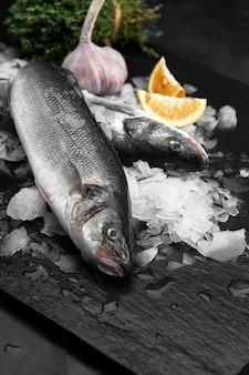 Rauwe verse biologische dorado of zeebrasem met citroen op ijsblokjes over zwarte leisteen, steen of betonnen achtergrond.