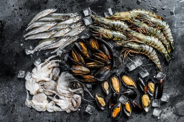 Rauwe zeevruchten tijgergarnalen, garnalen, blauwe mosselen, octopussen, sardines