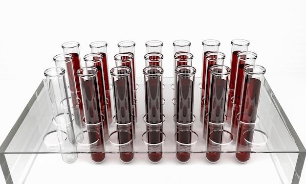Reageerbuisjes met bloedmonsters, 3d geïsoleerd render