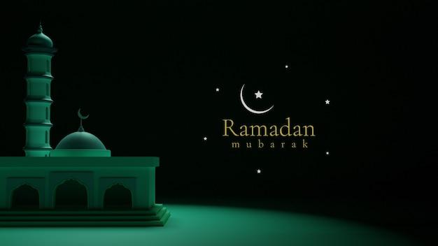 Realistisch beeld van het nachtthema van de moskee, 3d ramadan kareem mubarak