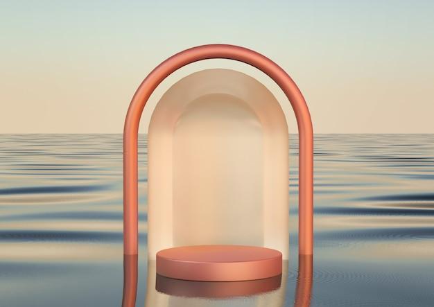Realistisch luxe rond podium op waterzee