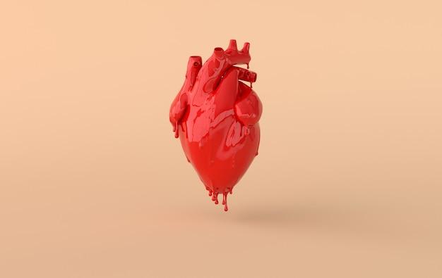 Realistisch menselijk rood gesmolten hart