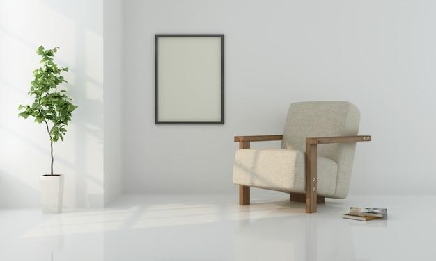 Realistisch modern neutraal woonkamerbinnenland met witte muur en leunstoel, met installatie en kader het 3d teruggeven