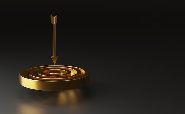 Realistisch virtueel gouden dartbord met pijl op donkere achtergrond met kopieerruimte voor het doelconcept van bedrijfsdoelstellingen, creatieve ideeën door 3d-renderingtechniek.