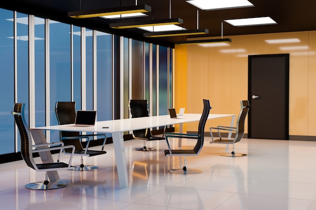 Realistisch zakelijk kantoor en vergaderruimte, weergave van 3d-illustraties