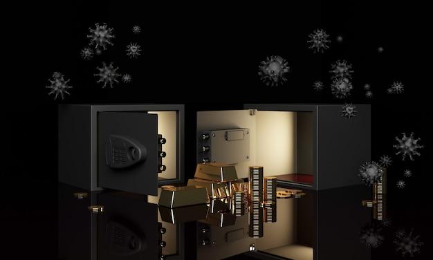 Realistische 3d render illustratie van een open kluis met goudstaven en munten