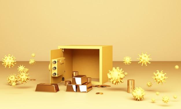 Realistische 3d render illustratie van een open kluis met goudstaven