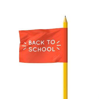 Realistische 3d-vlag van terug naar school