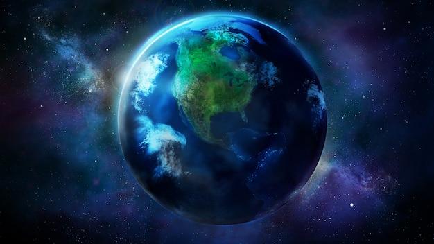 Realistische aarde vanuit de ruimte met noord- en zuid-amerika
