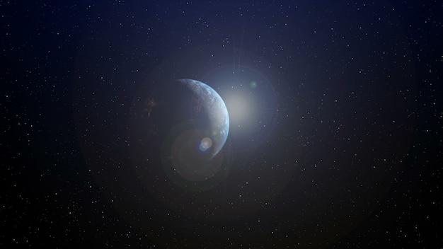 Realistische aardeplaneet met zonsopgang aan de horizon door grafische 3d-rendering. globalisering en mensen netwerk concept.