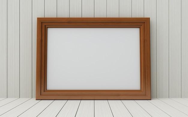 Realistische afbeeldingsframe op hout achtergrond.