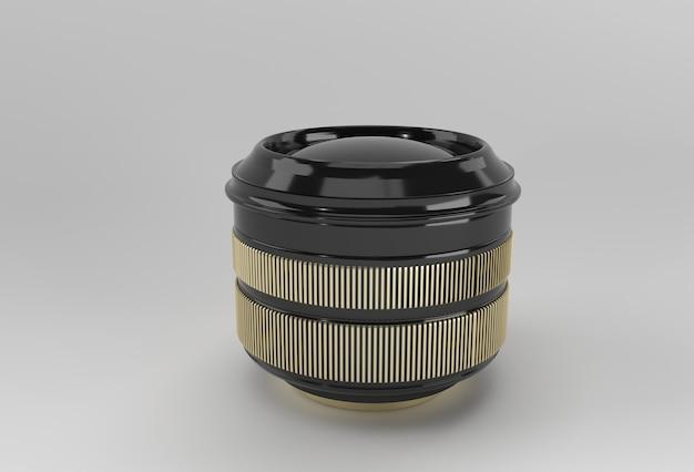 Realistische cameralens met reflecties 3d-rendering.