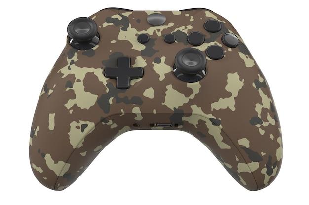 Realistische camouflage video game controller geïsoleerd op wit met uitknippad. 3d-rendering streaming-apparatuur en cloud gaming-concept