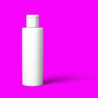 Realistische cosmetische fles mock up set geïsoleerd pack op rood paarse achtergrond. cosmetische merk template.3d rendering.