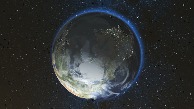 Realistische earth planet tegen de sterrenhemel